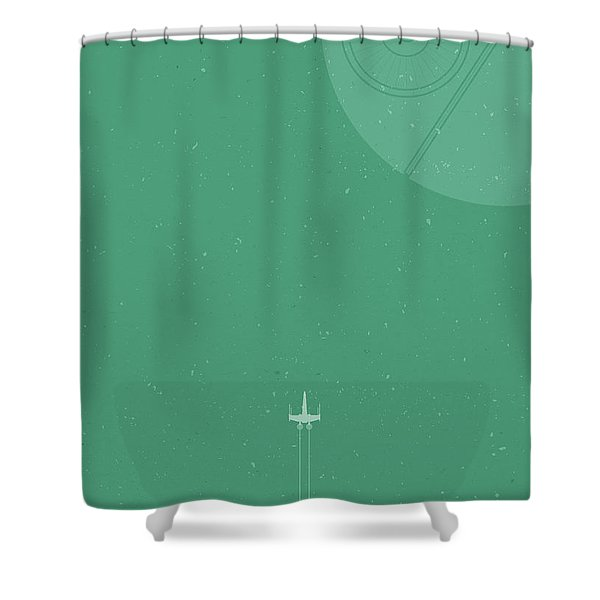 X-wing Meets Death Star Shower Curtain