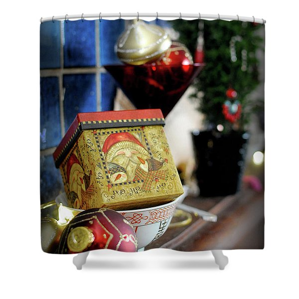 Xmas Morn Mantel Shower Curtain