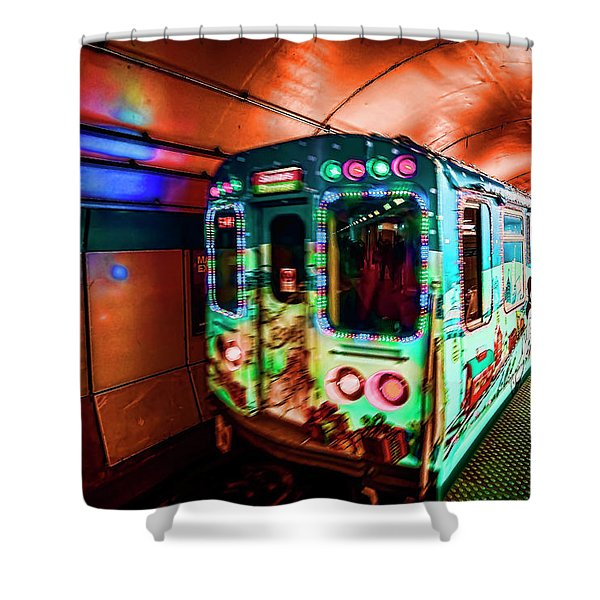 Xmas Subway Train Shower Curtain