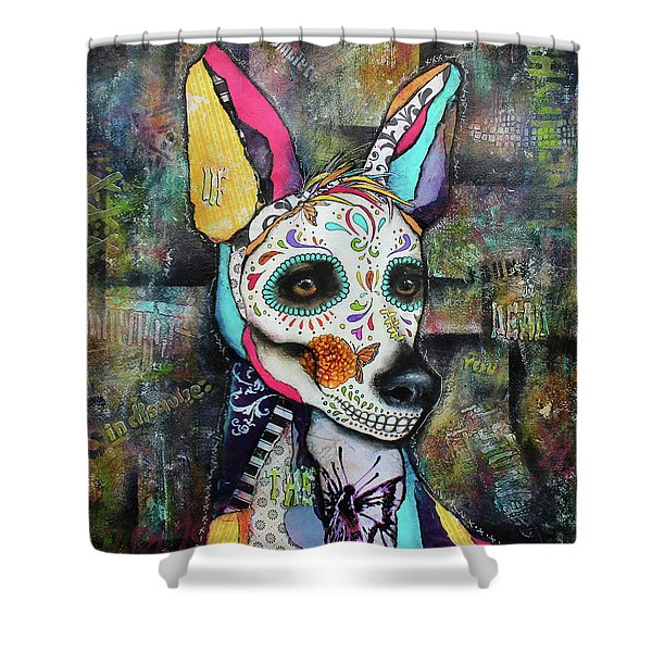Xolo Mexican Hairless Day Of The Dead Shower Curtain