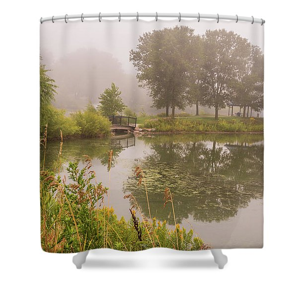 Misty Pond Bridge Reflection #5 Shower Curtain