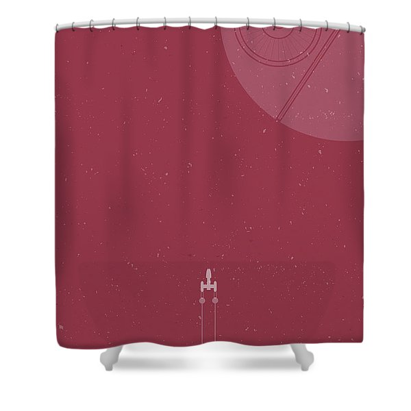 Y-wing Bomber Meets Death Star Shower Curtain