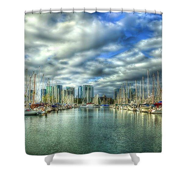 Yachts Ala Wai Harbor Waikiki Yacht Club Honolulu Hawaii Collection Art Shower Curtain