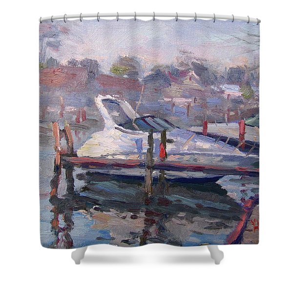 Yachts At The Harbor Shower Curtain