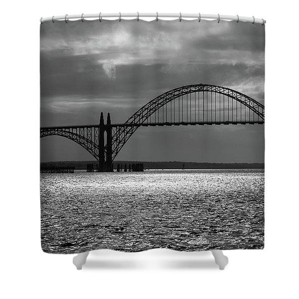 Yaquina Bay Bridge Black And White Shower Curtain