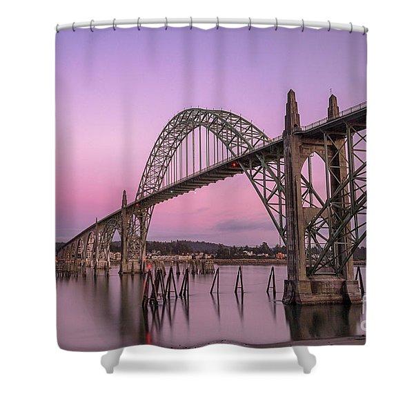 Yaquina Bay Bridge In Blue Light Shower Curtain