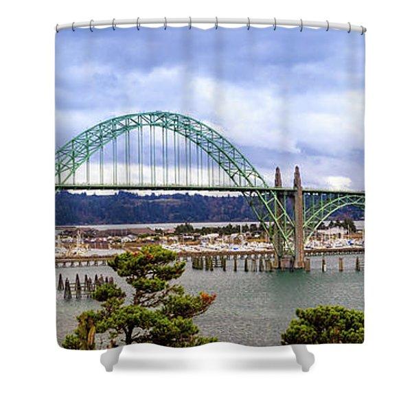 Yaquina Bay Bridge Panorama Shower Curtain