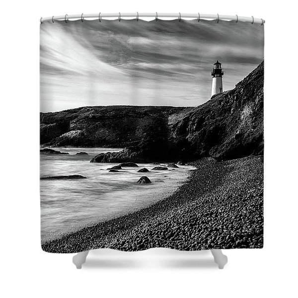 Yaquina Head Lighthouse 1 Black And White Shower Curtain