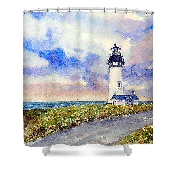 Yaquina Head Lighthouse - Springtime Shower Curtain