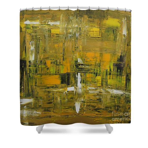 Yellow And Black Abstract Shower Curtain
