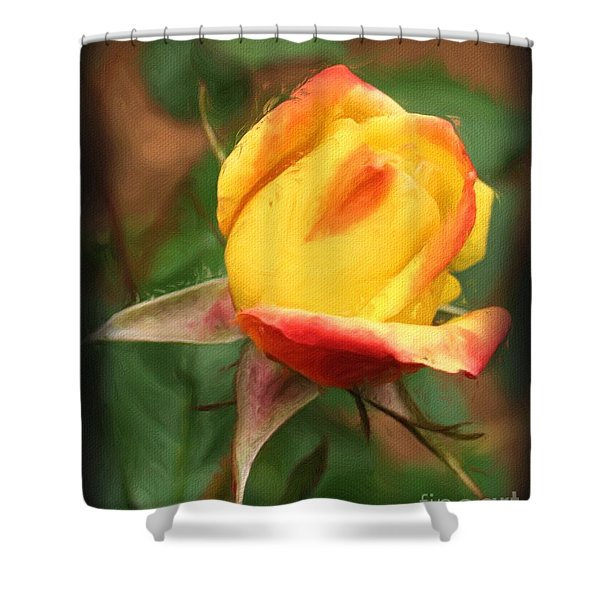Yellow And Orange Rosebud Shower Curtain
