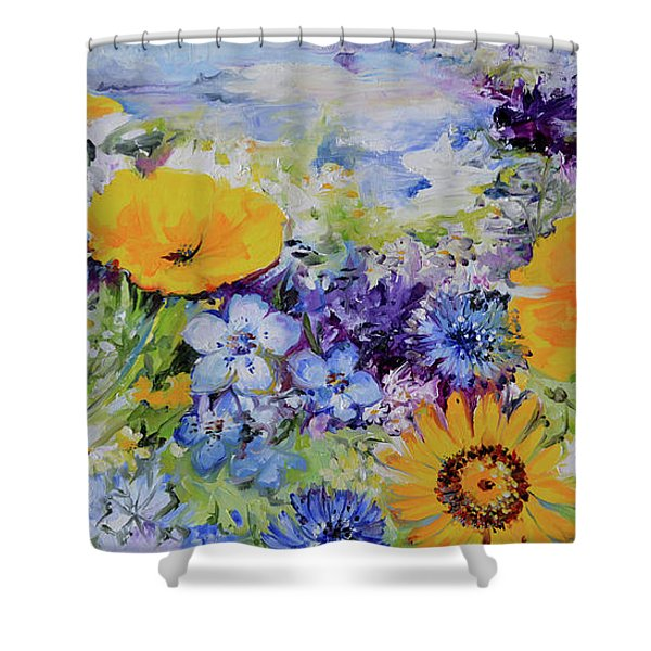 Yellow And Purple Flowers Field Shower Curtain