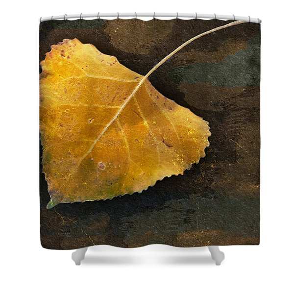 Yellow Autumn Leaf Shower Curtain