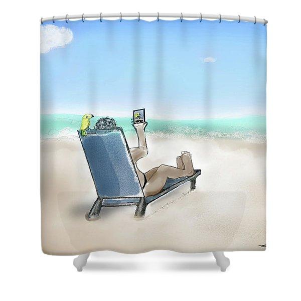 Yellow Bird Beach Selfie Shower Curtain