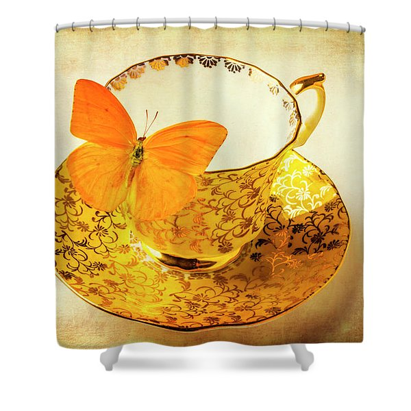 Yellow Butterfly On Yellow Tea Cup Shower Curtain