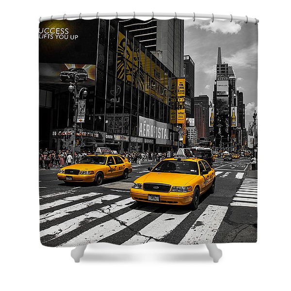 Yellow Cabs Cruisin On The Times Square  Shower Curtain