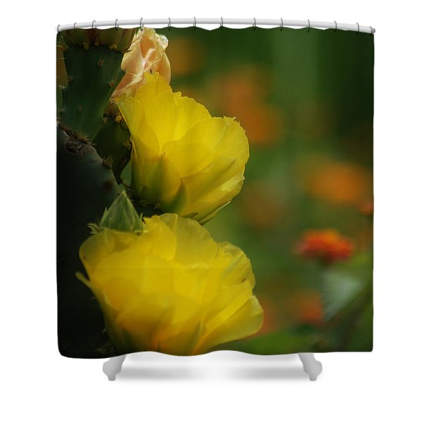 Yellow Cactus Flower Shower Curtain
