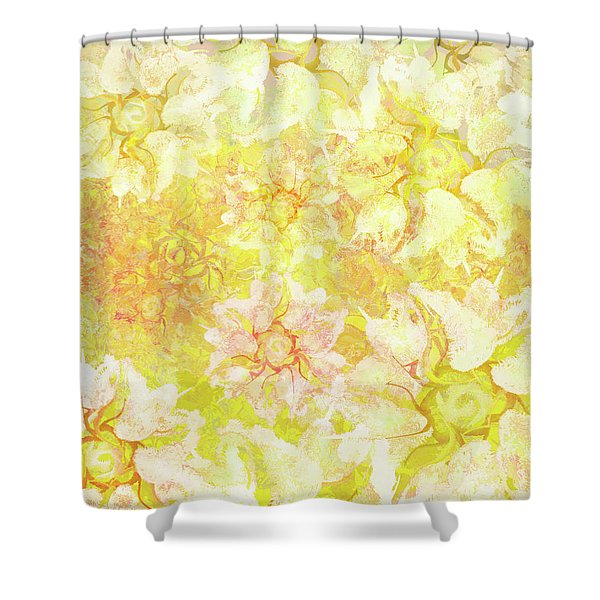 Yellow Camellia Hedges Shower Curtain