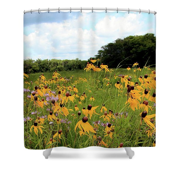 Yellow Cone Flowers Shower Curtain