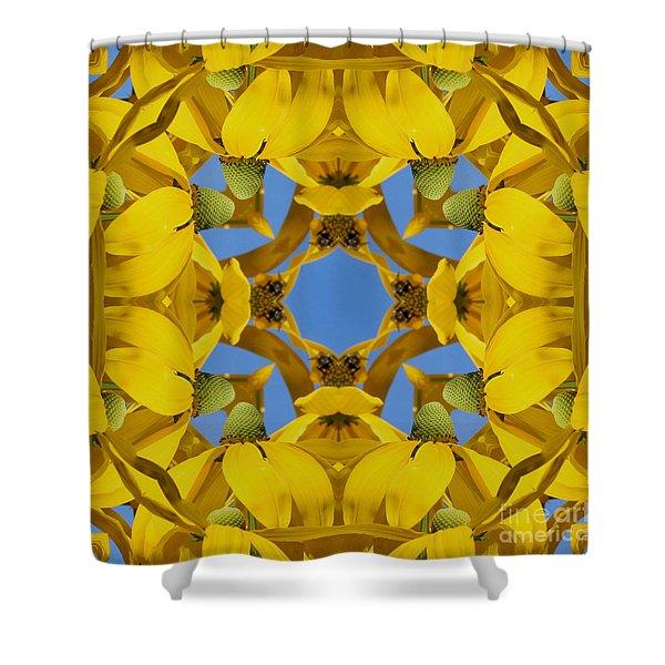Yellow Coneflower Kaleidoscope Shower Curtain