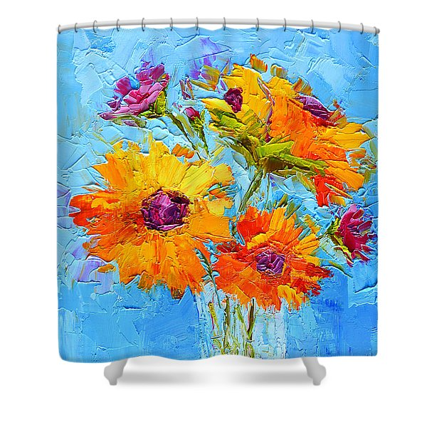 Yellow Daisies Flowers - Peonies In A Vase - Modern Impressionist Knife Palette Oil Painting Shower Curtain