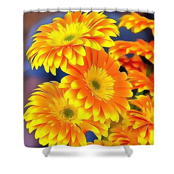 Yellow Flowers In Thick Paint Shower Curtain