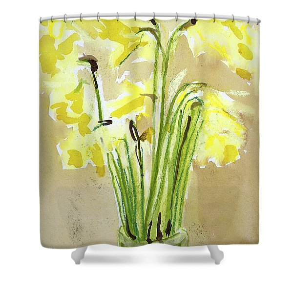 Yellow Flowers In Vase Shower Curtain