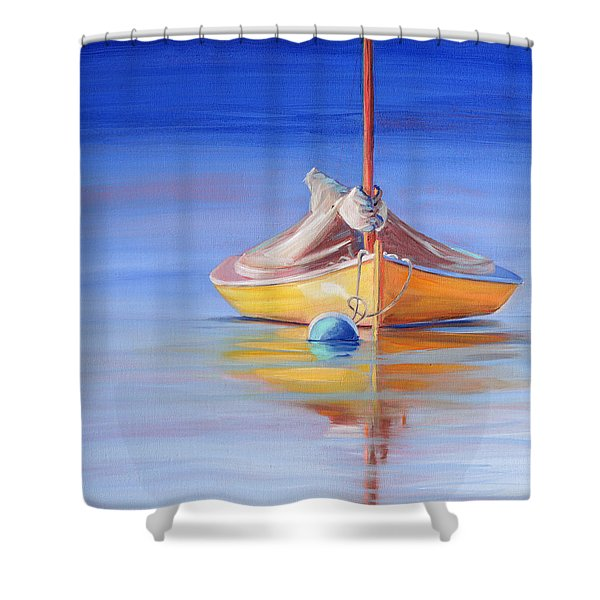 Yellow Hull Sailboat Iv Shower Curtain