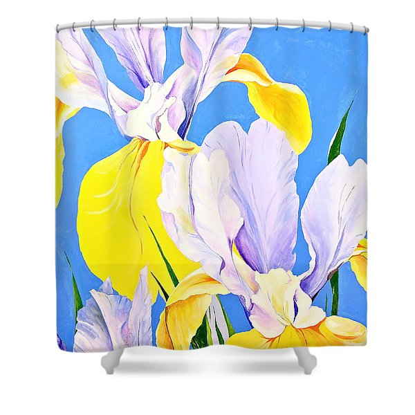 Shower Curtain featuring the painting Yellow Irises-posthumously Presented Paintings Of Sachi Spohn  by Cliff Spohn