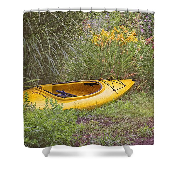 Yellow Kayak Shower Curtain