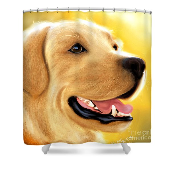 Yellow Lab Portrait Shower Curtain