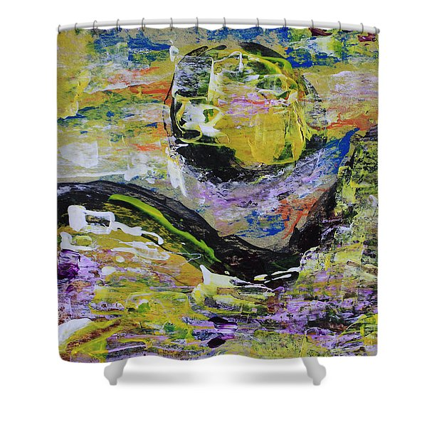 Yellow Moon Abstract Shower Curtain