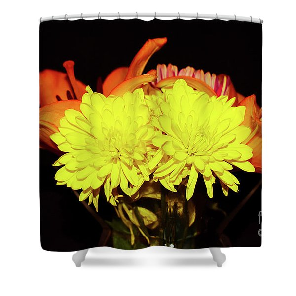 Yellow Mums And Orange Lilies  Shower Curtain