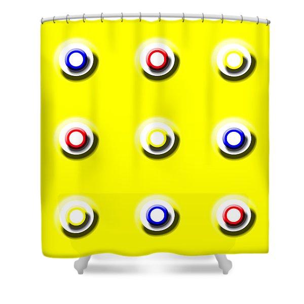 Yellow Nine Squared Shower Curtain