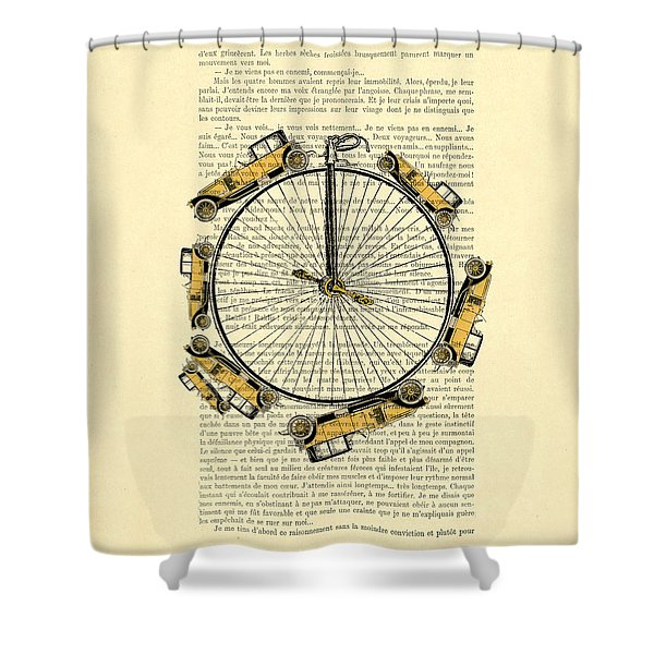 Yellow Oldtimers On A Bicycle Wheel Antique Illustration On Book Page Shower Curtain