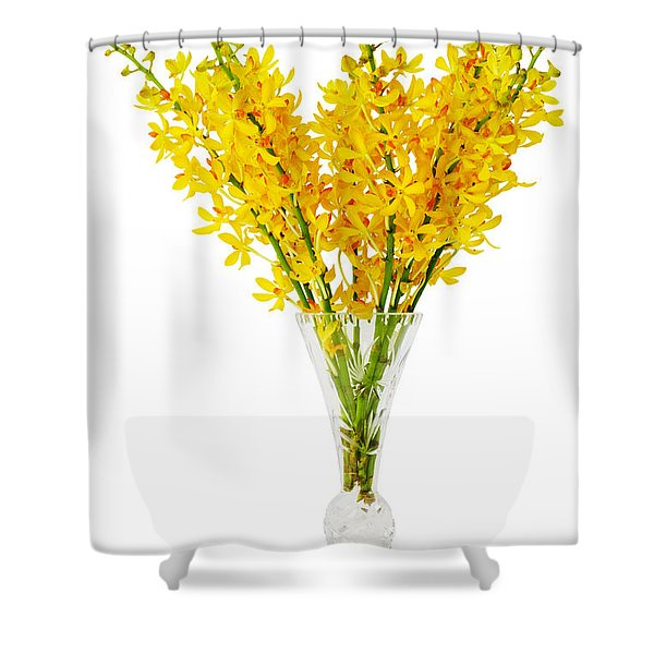 Yellow Orchid In Crystal Vase Shower Curtain
