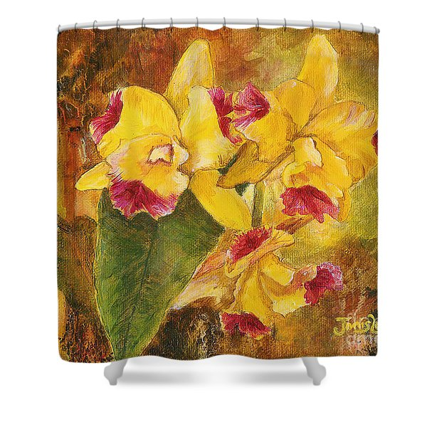 Yellow Orchids Acrylic Shower Curtain