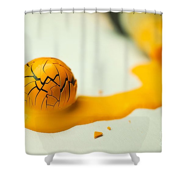 Yellow Painted Ball Shower Curtain