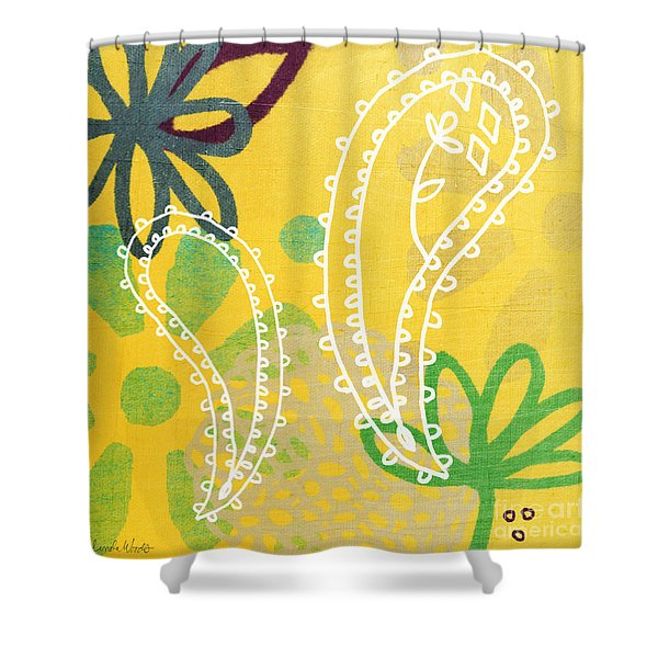 Yellow Paisley Garden Shower Curtain