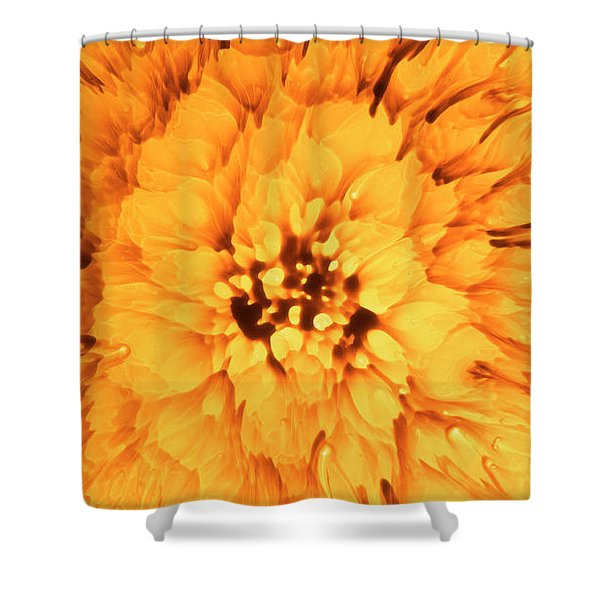 Yellow Flower Under The Microscope Shower Curtain