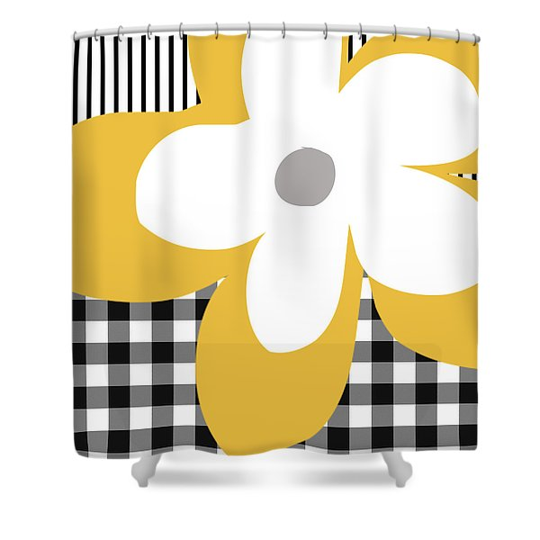 Yellow Picnic Flower- Art By Linda Woods Shower Curtain