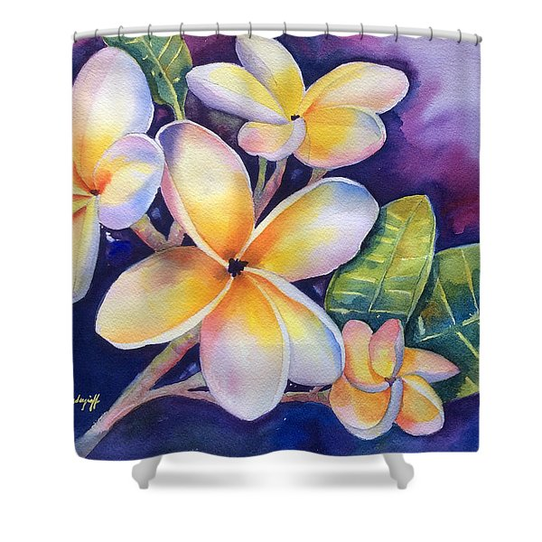 Yellow Plumeria Flowers Shower Curtain