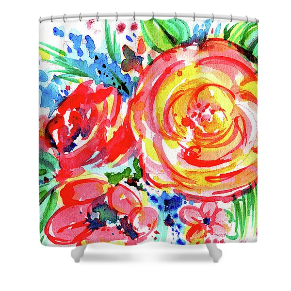 Yellow Rose Red Shower Curtain