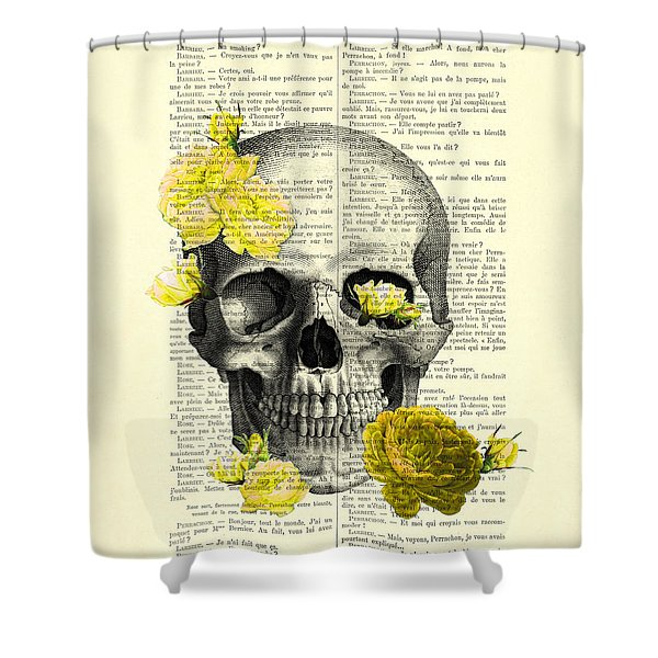 Skull With Yellow Roses Dictionary Art Print Shower Curtain