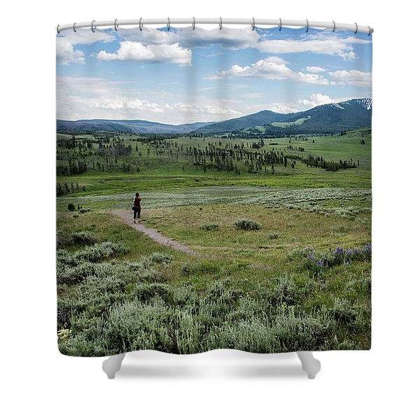 Shower Curtain featuring the photograph Yellow Stone Mountains by Mae Wertz