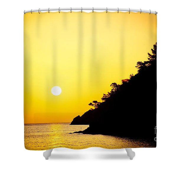 Shower Curtain featuring the photograph Yellow Sunrise Seascape And Sun Artmif  by Raimond Klavins