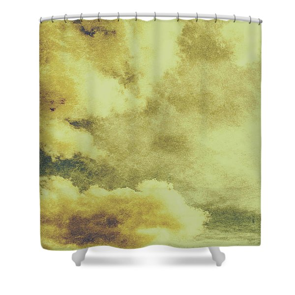 Yellow Toned Textured Grungy Cloudscape Shower Curtain