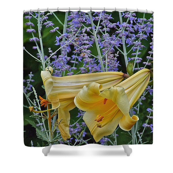 Yellow Trumpets Shower Curtain