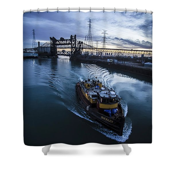 Yellow Tug Boat Approaching  Shower Curtain
