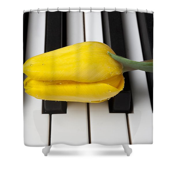 Yellow Tulip On Piano Keys Shower Curtain